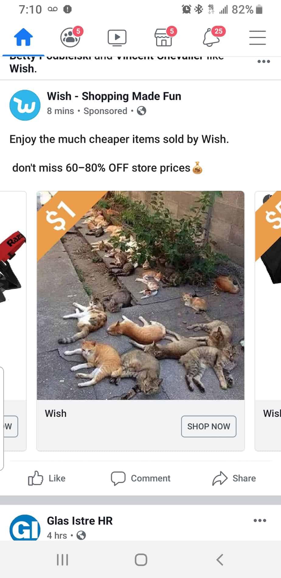 Weird offers from wish